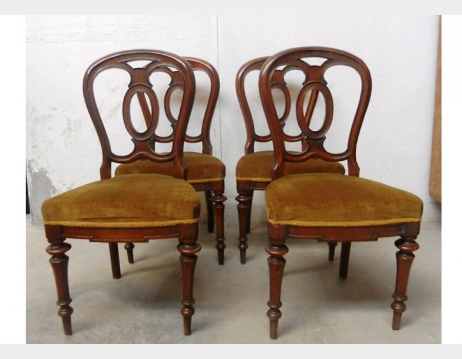 4 sedie imbottite in noce for Sedie imbottite
